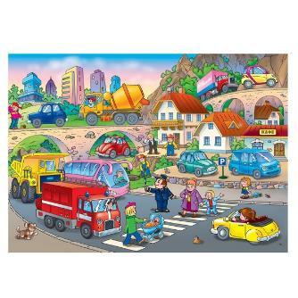 Игровой коврик 1toy для малышей EPE средний 1.5M*1.8M*1CM тубус двусторонний рисунок: дорога+цифр