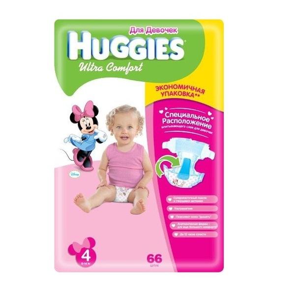 Подгузники Huggies Ultra Comfort для девочек 4 (8-14 кг) 66 шт - это хороший выбор. Бренд Huggies - это надежность и доступная цена.