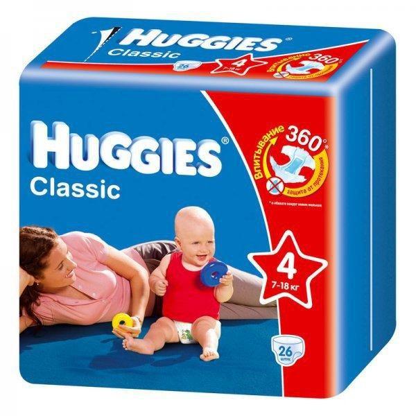 КУПИТЬ Подгузники Huggies Classic Conv Pack размер 4 7-18 кг 26 шт ЗА 220  рублей ·